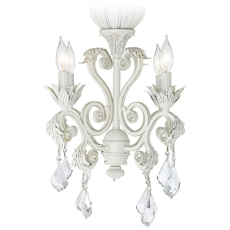 Crystal Beaded Antique White 4-Light LED Light Kit