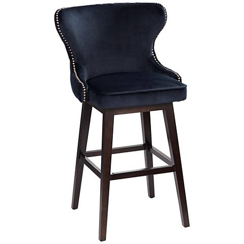 "Ariana 29 1/2"" Brass Trimmed Navy Blue Swivel Bar Stool"