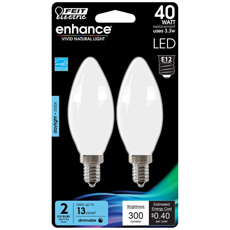 40W Equivalent Frosted 3.3W LED E12 Torpedo Bulb 2-Pack
