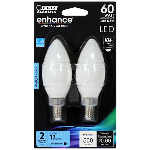 60W Equivalent Frosted 5.5W LED E12 Torpedo Bulb 2-Pack