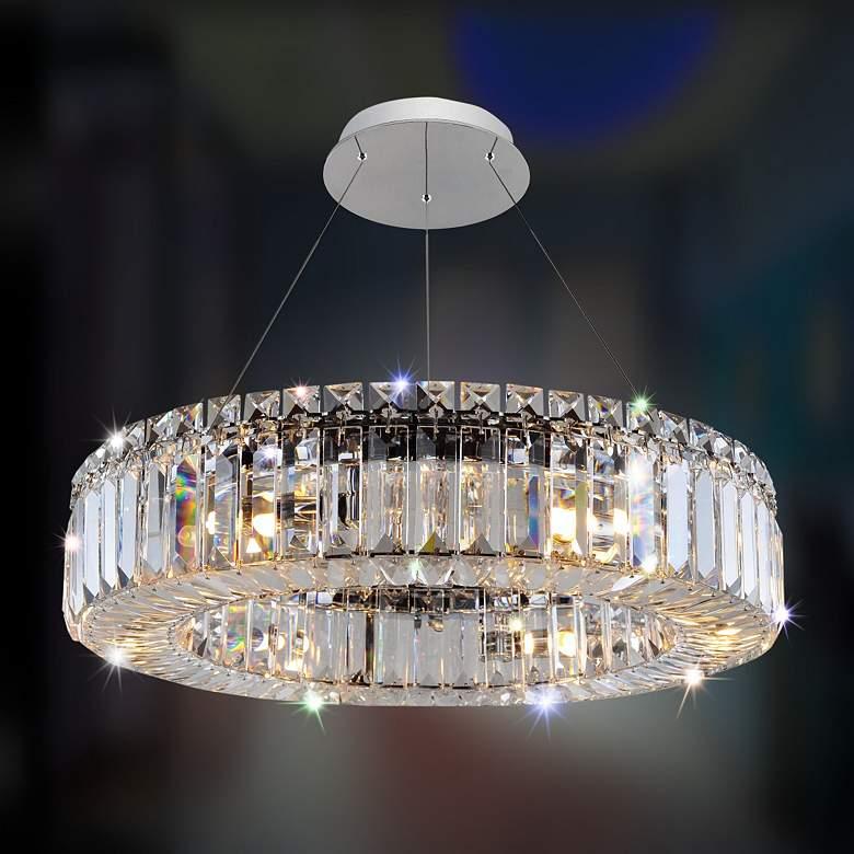"""Allegri Rondelle 18"""" Wide Chrome Crystal Ring Pendant Light"""