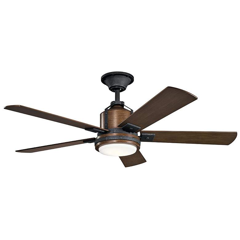 "52"" Kichler Colerne Auburn Stained LED Ceiling Fan"