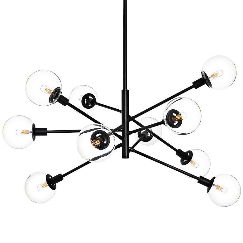"Sonneman Orb 38 1/2"" Wide Satin Black 10-Light Chandelier"