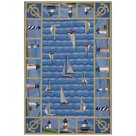 Kas Colonial Blue COL1335 Wool Area Rug