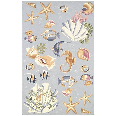 Kas Colonial Light Blue COL1805 Wool Area Rug