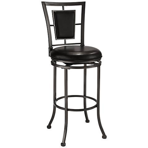 "Hillsdale Auckland 30"" Oyster Stone Black Swivel Bar Stool"