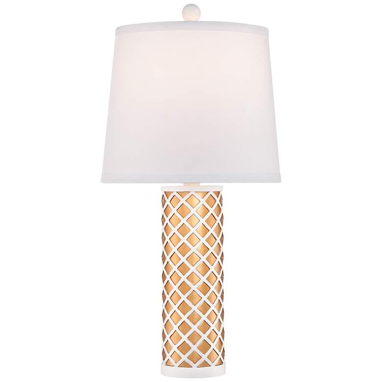 Gisele Ivory and Gold Lattice Cylinder Table Lamp