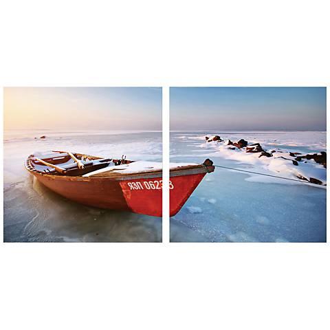 """Set of 2 Seasonal Seashore 19 3/4"""" Square Canvas Wall Art"""