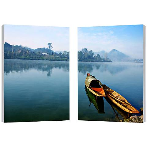 "Set of 2 Traditional Travel 23 3/4"" High Canvas Wall Art"