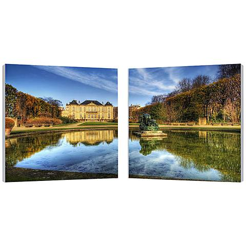 "Set of 2 French Chateaux 19 3/4"" Square Canvas Wall Art"