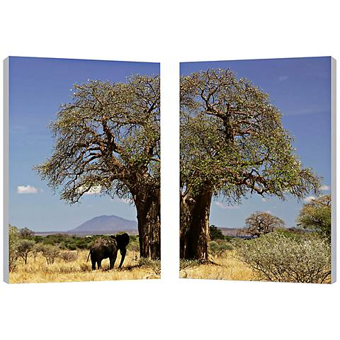 "Set of 2 Tree of Life 23 3/4"" High Canvas Wall Art"