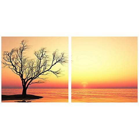 "Set of 2 Blazing Horizon 19 3/4"" Square Canvas Wall Art"