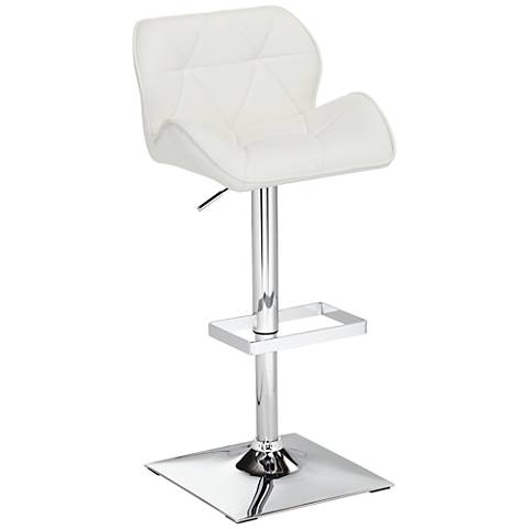 Boulton White Faux Leather Adjustable Swivel Bar Stool