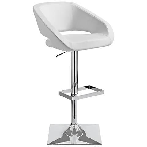 Gustavo Chrome and White Swivel Seat Adjustable Barstool