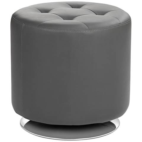 Domani Small Gray Swivel Ottoman