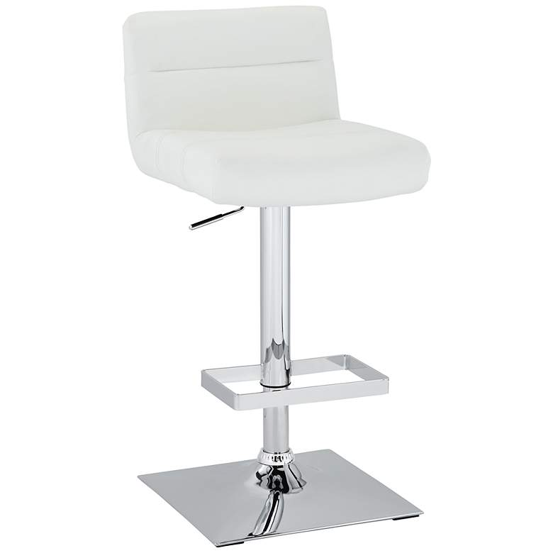 Stafford White Faux Leather Adjustable Swivel Bar Stool