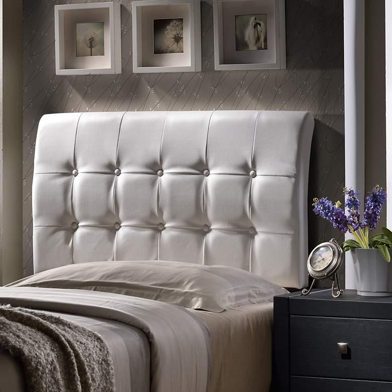 Hillsdale Lusso White Faux Leather Queen Headboard