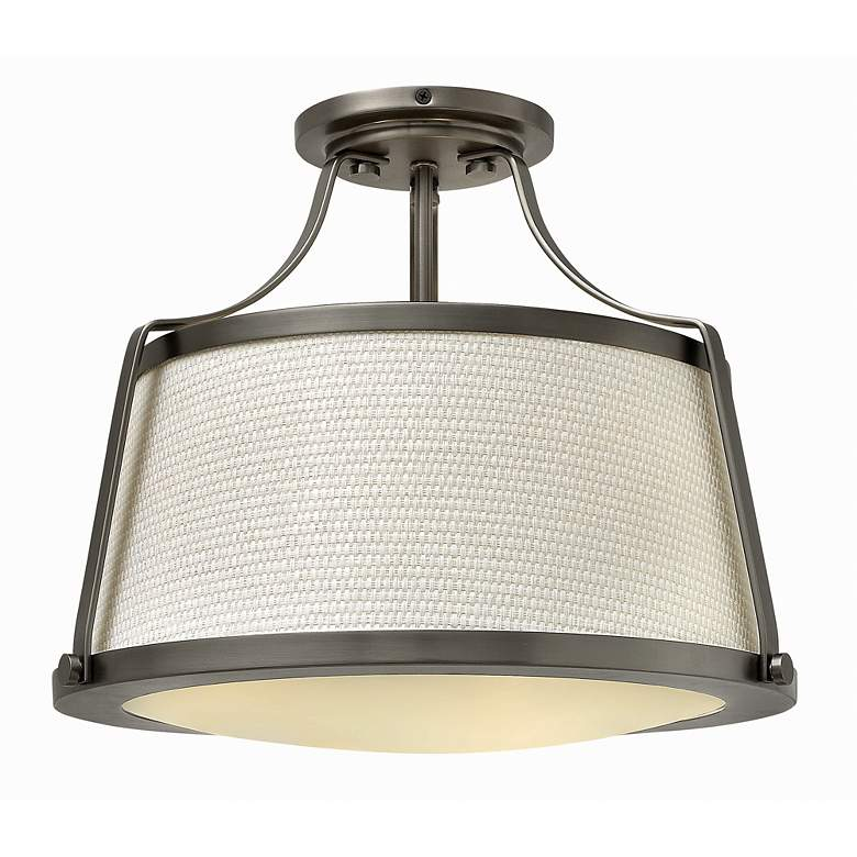 "Hinkley Charlotte 16"" Wide Antique Nickel Ceiling Light"
