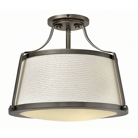 "Hinkley Charlotte 16"" Wide Antique Nickel Ceiling Light"