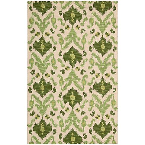 Nourison Siam SIA01 Ivory and Green Wool Area Rug