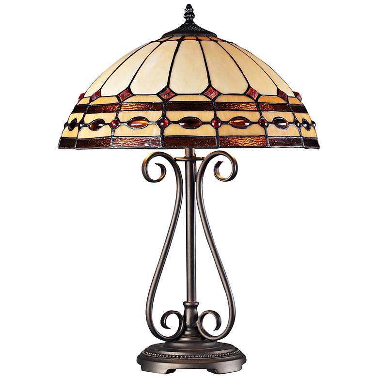 Diamond Ring Copper Tiffany Style LED Table Lamp