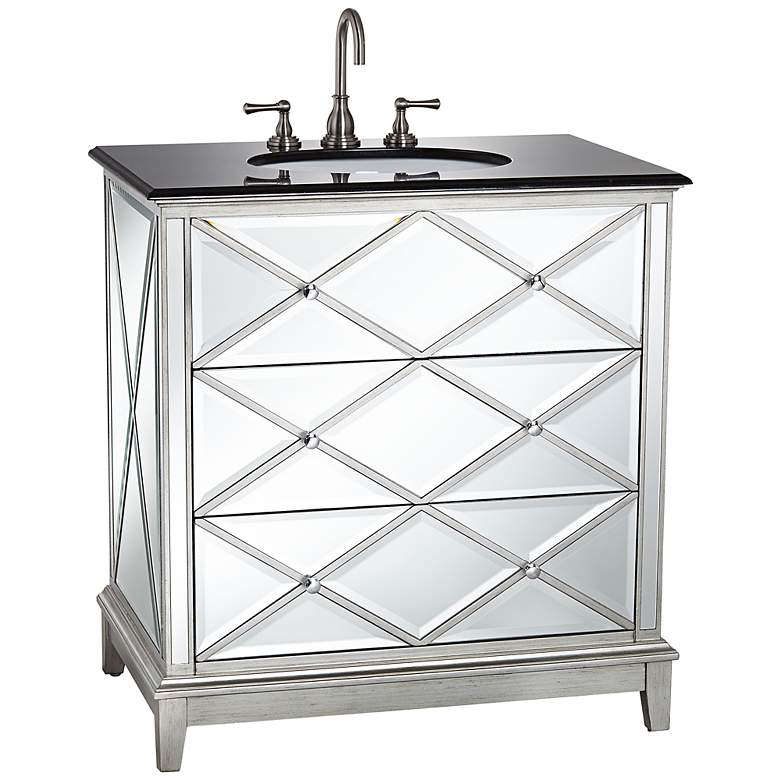 "Criss Cross Mirrored 34"" Wide Single Sink Vanity"