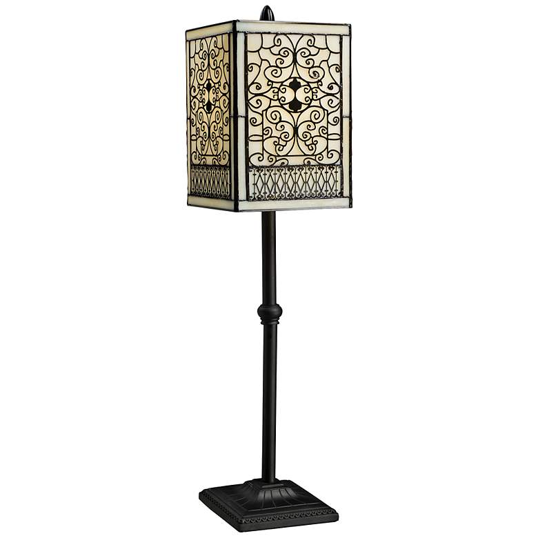 Adamson Tiffany Style Bronze Table Lamp