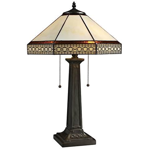 Stone Tiffany Style Bronze 2-Light Table Lamp