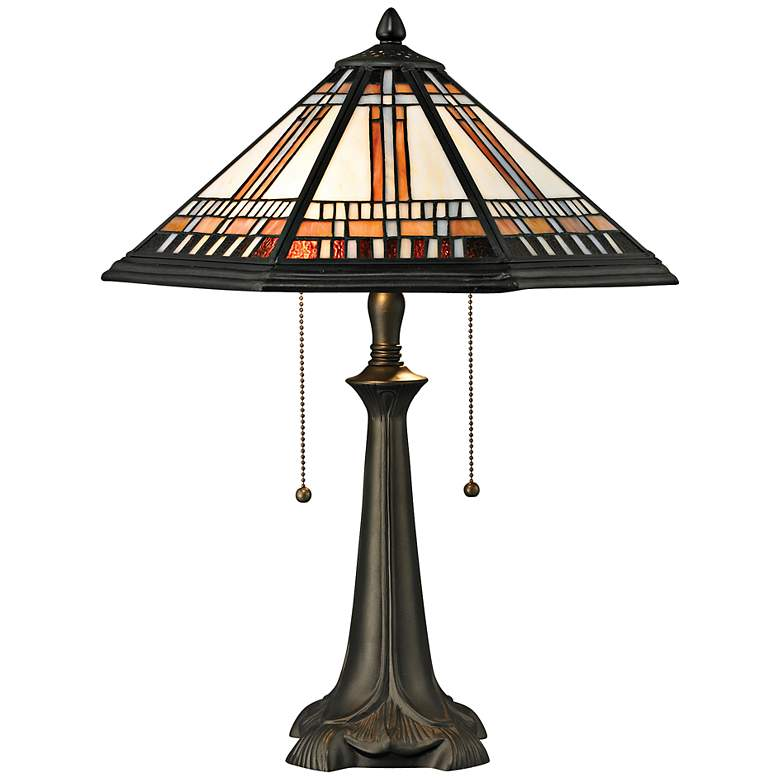 Hollander Tiffany Style Glass and Bronze Table Lamp