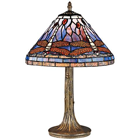Dragonfly Tiffany Style Glass and Bronze Accent Table Lamp