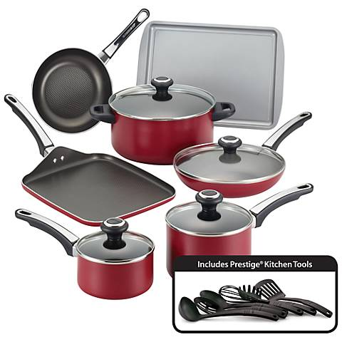 Farberware High Performance 17-Piece Red Cookware Set