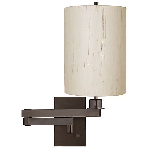Ivory Linen Drum Cylinder Shade Bronze Swing Arm Wall Lamp
