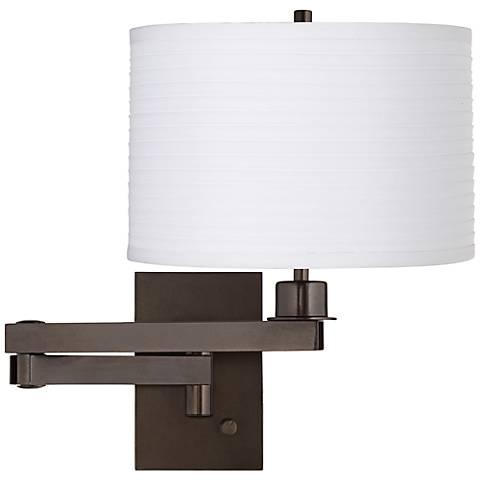 White Horizontal Pleat Drum Shade Bronze Swing Arm Wall Lamp