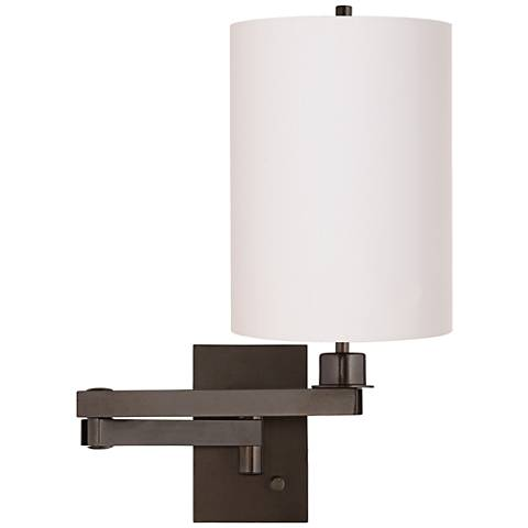 White Cotton Drum Cylinder Shade Bronze Swing Arm Wall Lamp