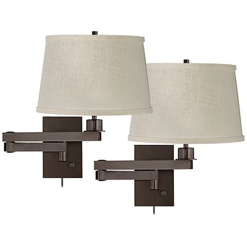 Bronze Cream Burlap Drum Swing Arm Wall Lamp Set of 2