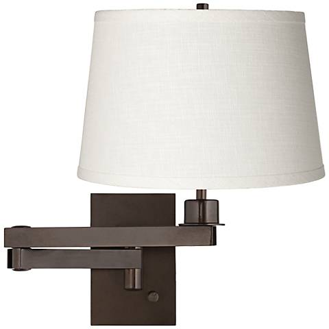 White Linen Shade Bronze Plug-in Swing Arm Wall Lamp