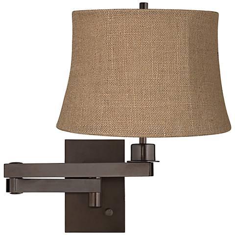 Natural Burlap Shade Bronze Plug-in Swing Arm Wall Lamp