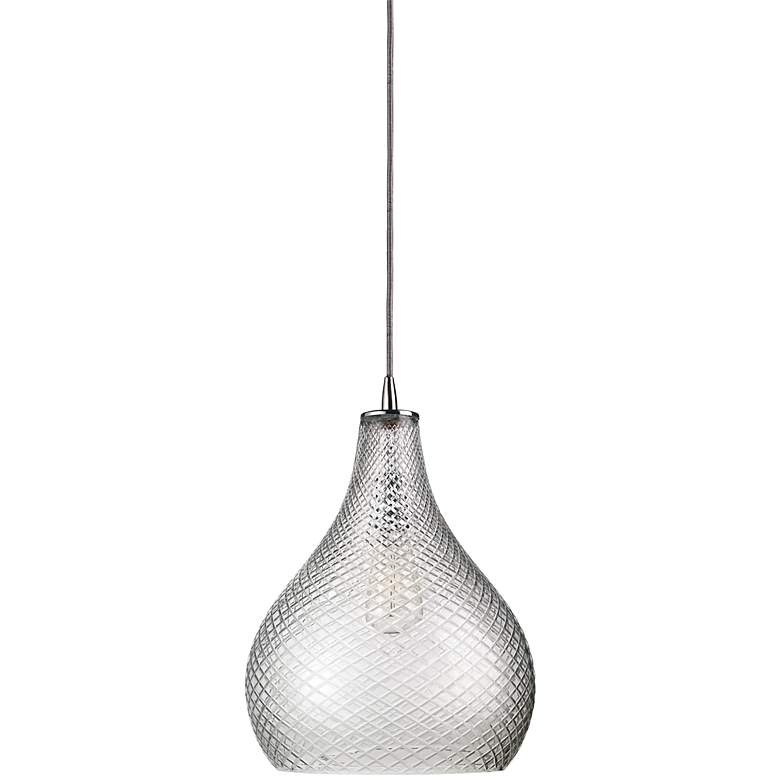 """Jamie Young 13"""" Wide Curved Cut Clear Glass Pendant"""
