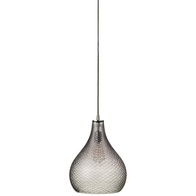 """Jamie Young 13"""" Wide Curved Cut Gray Glass Pendant"""