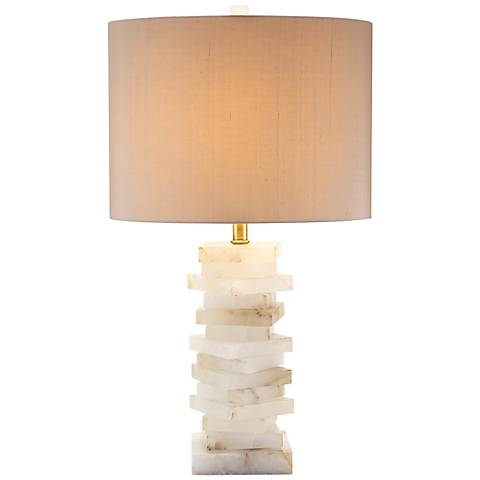 John Richard Cameron Alabaster Block Table Lamp