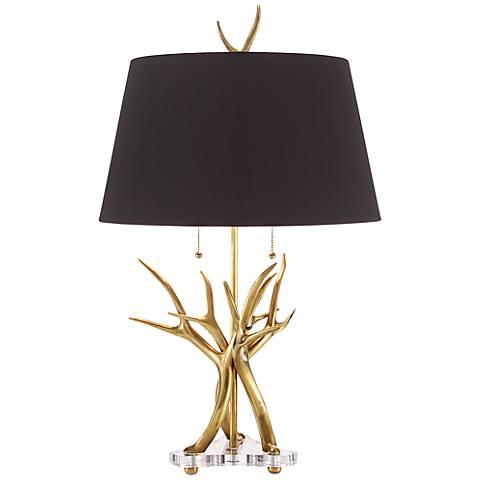 John Richard Antler Brass Table Lamp