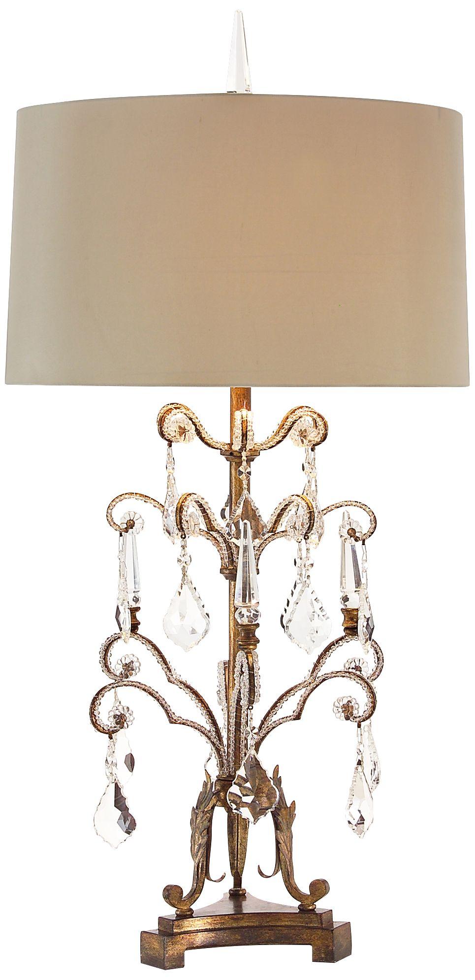 Bon John Richard French Girandole Tall Crystal Table Lamp