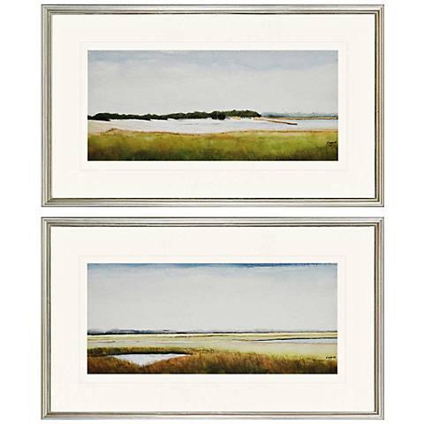 "Set of 2 Marshlands II 30"" Wide Framed Coastal Wall Art"