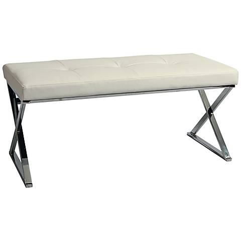 Impacterra Neuville Ivory Faux Leather Bench