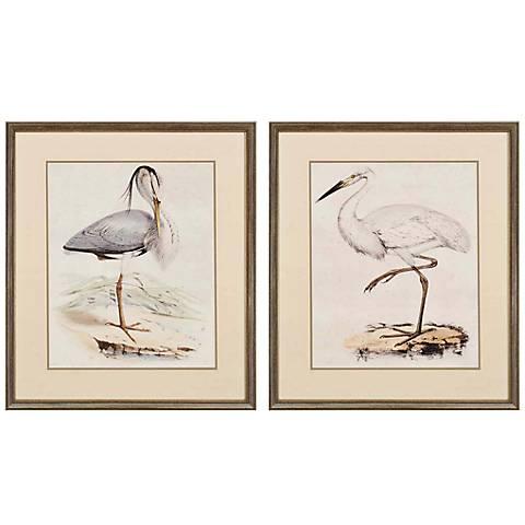 "Set of 2 Antique Herons 28"" High Coastal Wall Art"