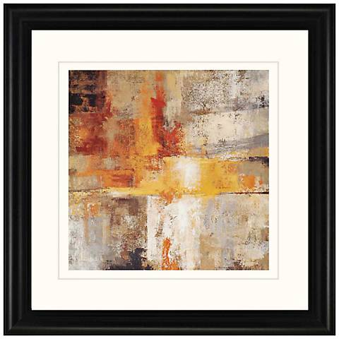"Silver and Amber 32"" Square Framed Wall Art"