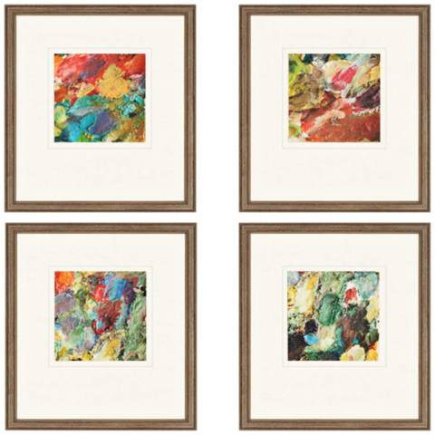 Set Of 4 Palette 19 Quot High Framed Abstract Wall Art