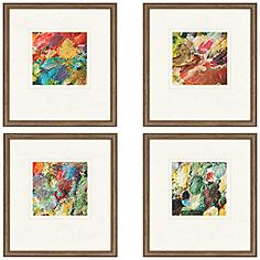 "Set of 4 Palette 19"" High Framed Abstract Wall Art"