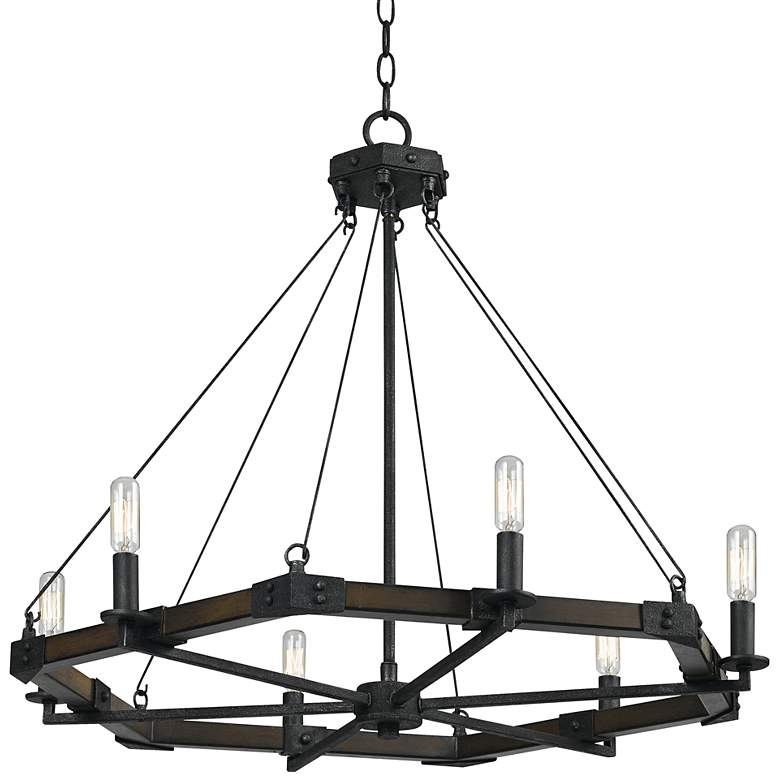 """Blacksmith Collection 29"""" Wide Iron Chandelier"""
