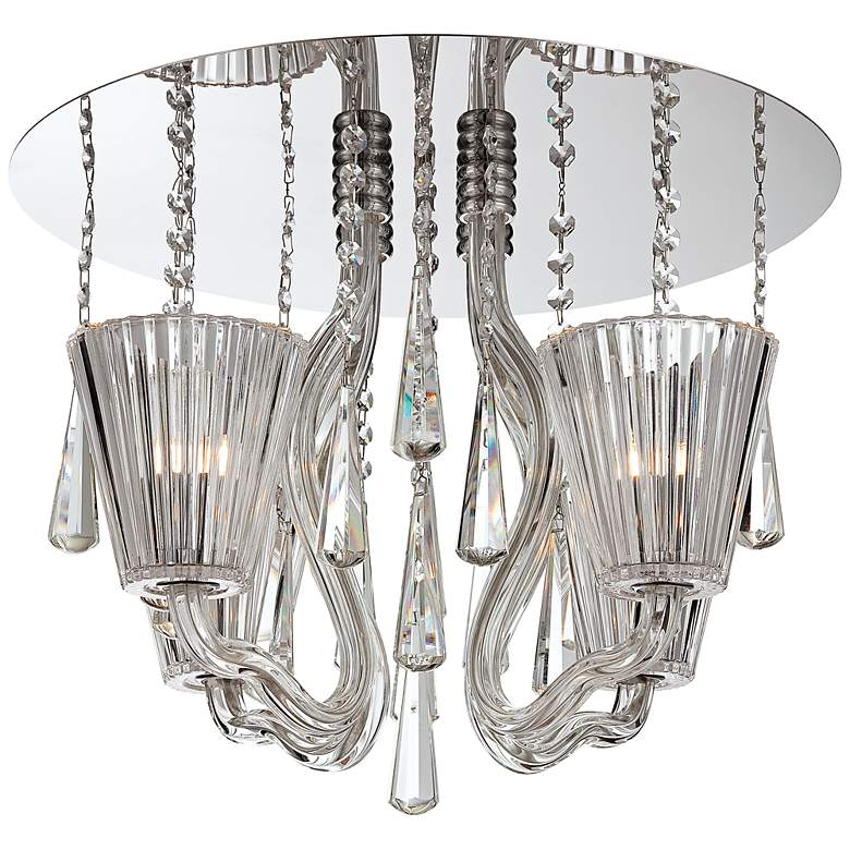 """Corato Collection 17 3/4"""" Wide Clear Crystal Ceiling Light"""